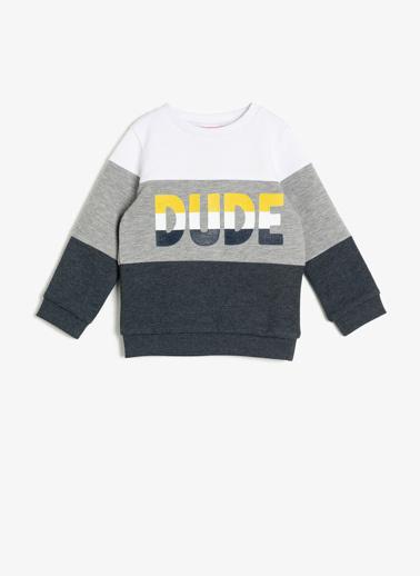 Koton Kids Yazılı Baskılı Sweatshirt Ekru